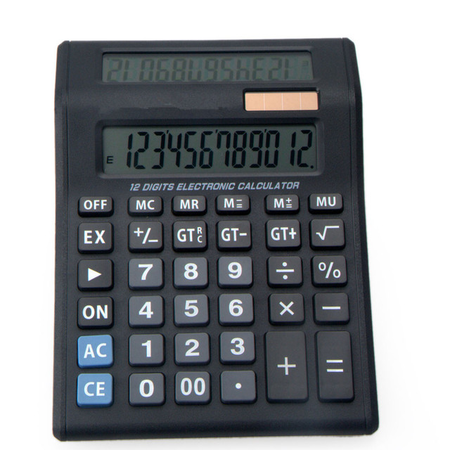 12 Digits Dual Power Innovative Double Screen Display Calculator