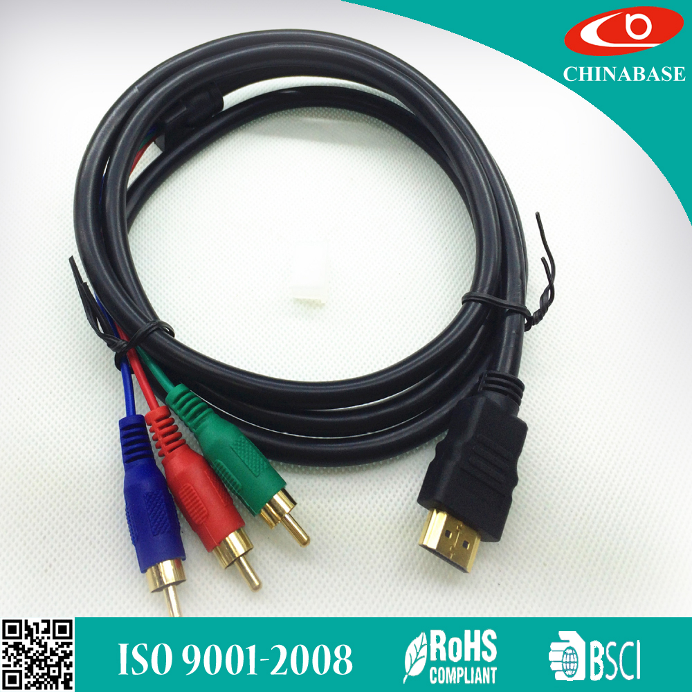 1.5m factory price HDMI to 3 RCA Audio Video AV Converter Adapter Cable