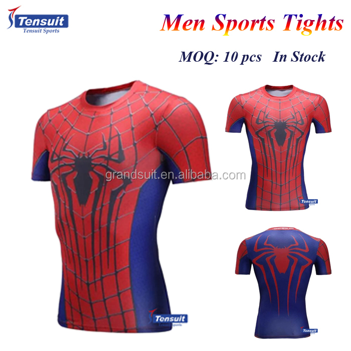 Spider man compression tights classical men t shirt for sports fitness clothing