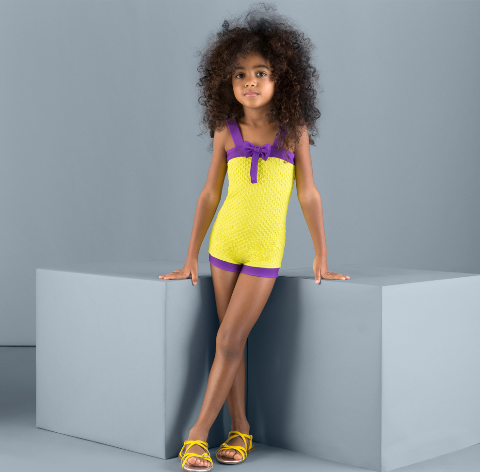 Balneaire New Arrival Sexy Yellow Color Child Models Girls