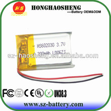 hot sale long cycle life 3.7v 300mah 602030 rechargeable battery