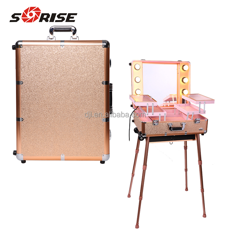 guangzhou factory aluminum train Make up Case with light