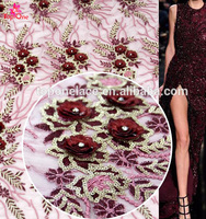 Top-one Fancy Design Metallic Thread Embroidery French Lace/african All over 3d Flower Tulle Lace/nigeria Net Lace Fabrics