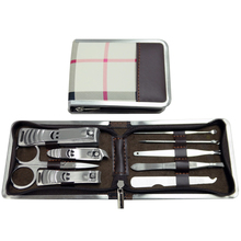 9pcs Cheap Manicure Tool Set Wholesale Leather Manicure Pedicure Kits For Men