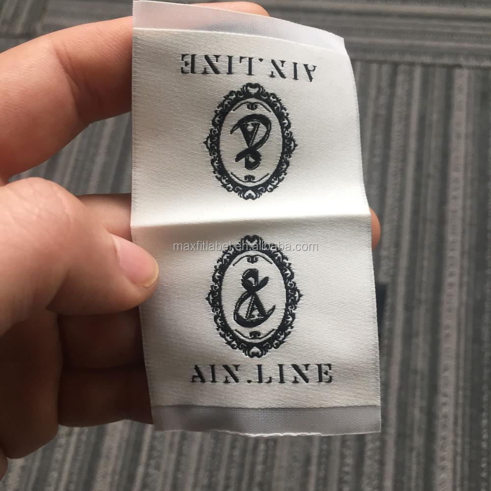 2016 Customized high density satin damask off white woven labels