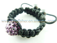 Shamballa crystal ring and waxed cord!! Purple 10MM Crystal Disco ball!! Factoty wholesale price!!
