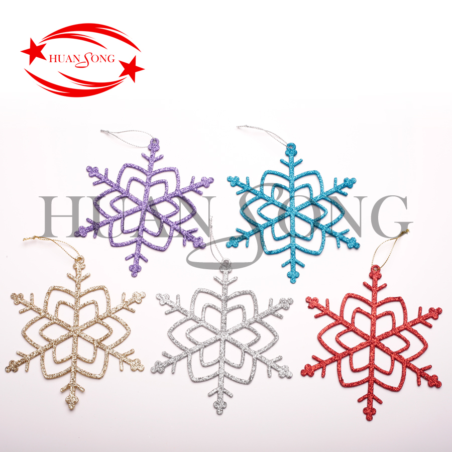 New products Christmas metal glitter snowflake hanging ornament for Christmas tree decoration