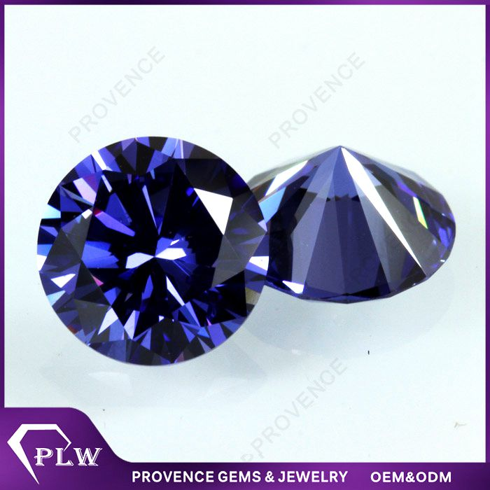 Wholesale Price Synthetic Round Tanzanite Cubic Zirconia CZ Stone