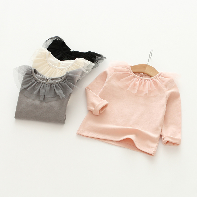 YD3365wholesale children clothes long sleeve veil lace collar cute girl shirts