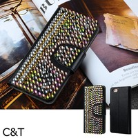 C&T Deluxury Pearl 3D Bling Crystal Rhinestone Wallet Leather Purse Flip Card Pouch Stand Cover Case For Iphone 6 4.7""
