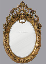 PU581 Antique Gold European Oval Framed Mirror