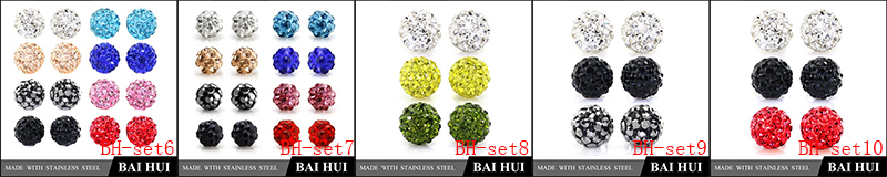 4MM Custom Women's Bling Disco Ball Stud Earrings Set/Stainless Steel Hypoallergenic Fashion Cubic Zirconia Earrings