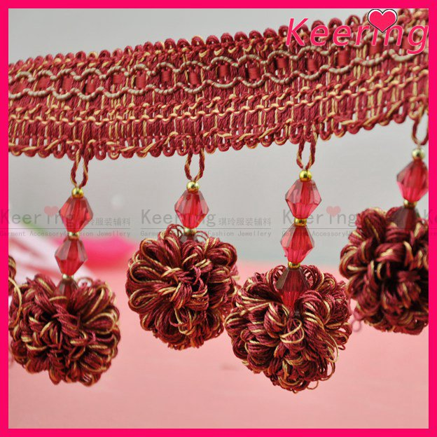 Custom bright-colored beaded tassel fringe for curtain WTP-1292