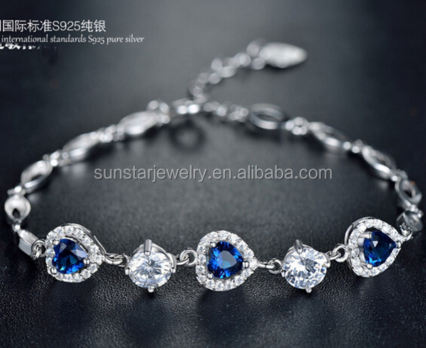 China factory 925 sterling silver heart shape sapphire bracelet for women