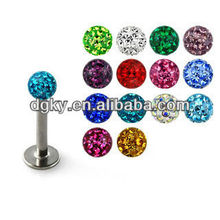 Stainless Steel Colorful Epoxy Gem Ball Crystal Labret Stud