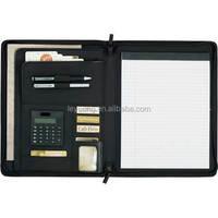 Leather Expanding File Folder Zipper Compendium with calculator