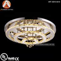 Round Shape Modern Silver LED Ceiling Chandelier Lighting With Clear Crystal Beads