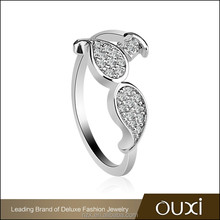 OUXI 2016 Fashion design wholesale price leaf charming Rhodium plated women wedding ring 40192