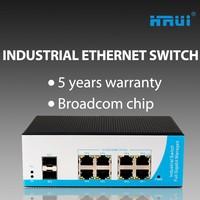 Manageable 8 Port 10 Port Industrial Network Switch 8 Port Gigabit RJ45 2 SFP Support Ring Network