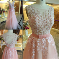 RP66874 2016 Real white lace bow front new coming evening dresses pink prom dress sleeveless party gowns with pearls and sash