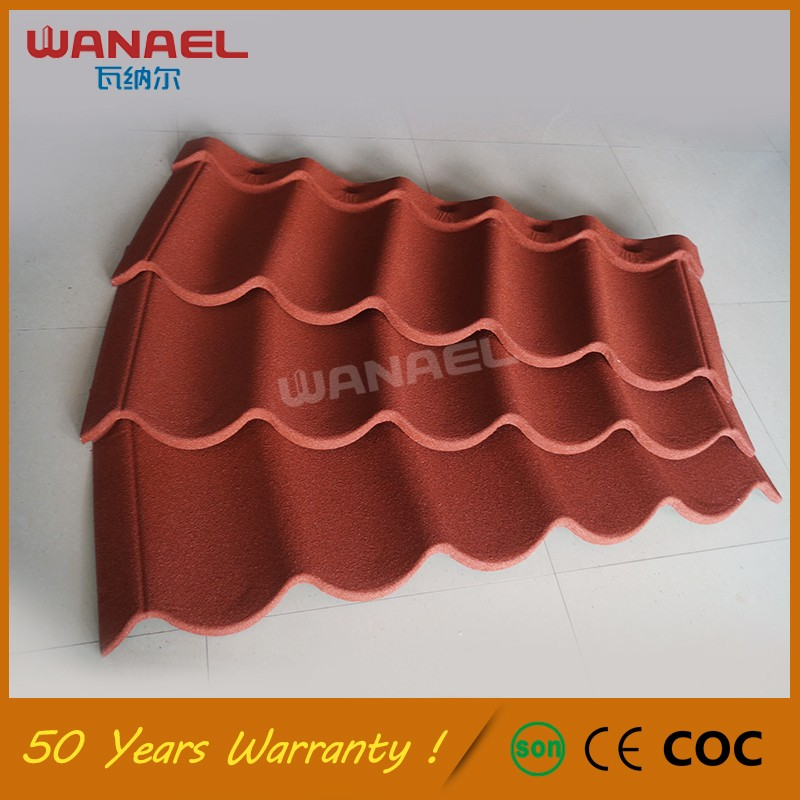 Discount low price concrete stone chip coated steel metal villa roof tile