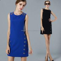Women European Style Sleeveless Blue color Beaded A line Short Tank dress