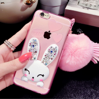 New arrival Rex Rabbit Fur Ball Phone Case for iPhone 6,for iPhone 6 6s Cute Clear Soft Rabbit Ear Stand Daimond Phone Cover