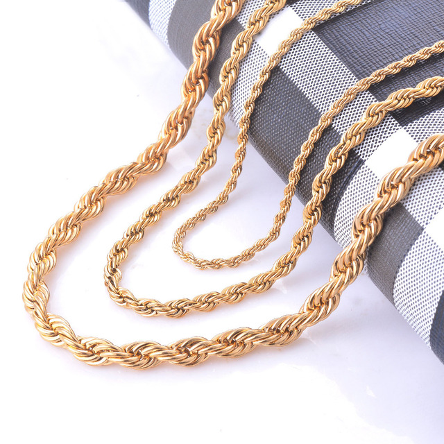 Width 2/4/6mm Stainless Steel Gold Rope Chain Necklace Statement Swag 316L Stainless Steel Twisted Necklace Chain Gold