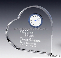 Customized Engraved Heart Shape Crystal Small Desk Clock For Wedding Favors