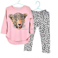 Bulk wholesale cool print cheetah kids girls boutique fall outfits children's clothes in china