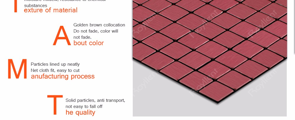 Interior Home Decoration Metal Mosaic tile Modern Kitchen Bathroom Design Building Materials China Supplier RM201638