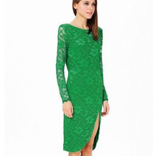hot selling back open ladies long sleeve lace evening gown
