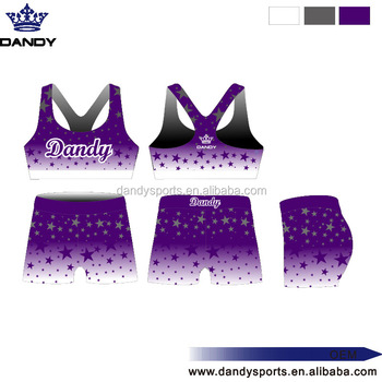Custom Cute Girls and Kids Wholesale sublimation Cheerleading Uniforms Designs cheer bra and shorts cheaper price