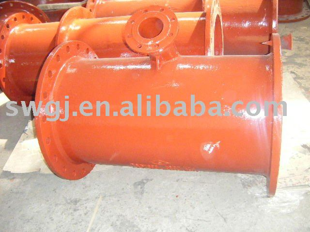 DI All flanged Reducing tee with level invert falnge