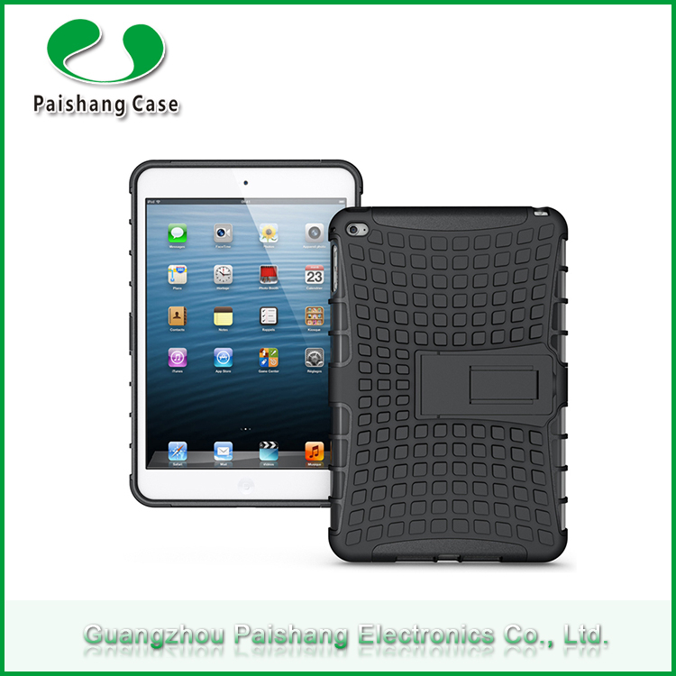 Factory wholesale PC+TPU hybrid combo heavy duty holster kickstand shockproof case cover for ipad mini 4 protective cover