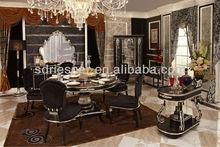 neoclassic home furniture carving wood fabric dining table N04-022