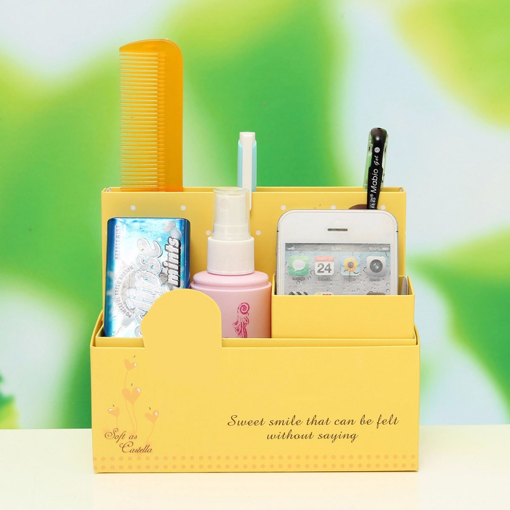 DIY Paper Board Storage Box Stationery Makeup Cosmetic Desk Organizer Case
