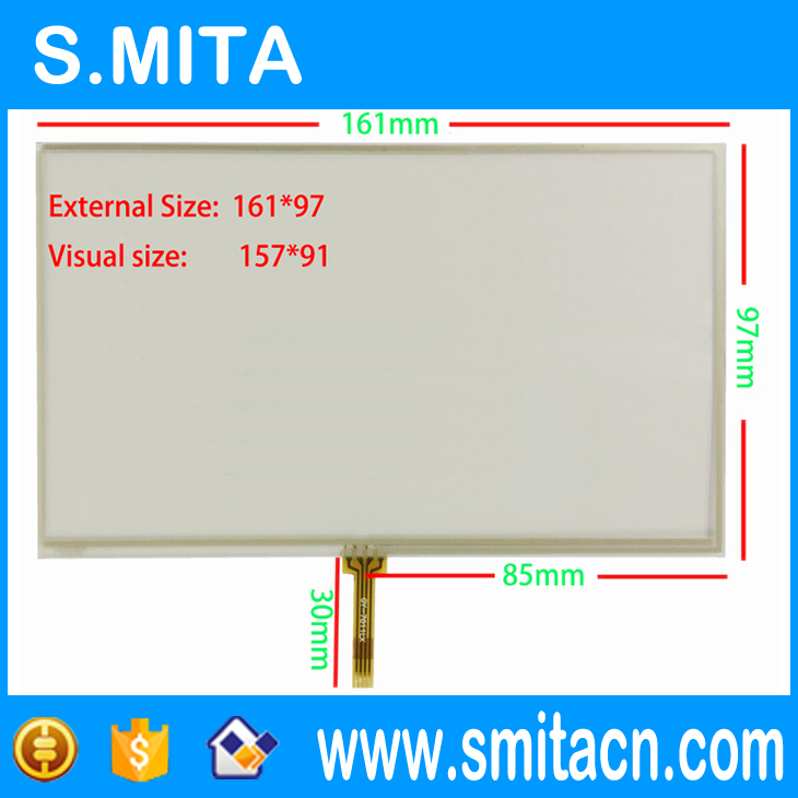 7 inch 4 wire resistive <strong>touch</strong> <strong>screen</strong> handheld <strong>x10</strong> x20 navigation device E road navigation digitizer 161mm * 97mm