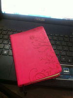 Notebook have red leather cover with a delicate pattern PU notebook