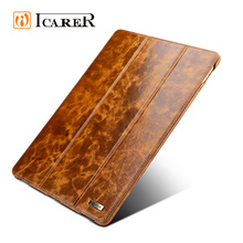 ICARER New Product Oil Wax Vintage Genuine Leather Folio Case for iPad Pro 9.7