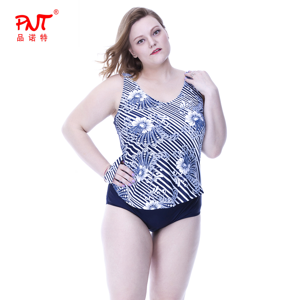Fashion Designs Plus Size Swimsuits Women Printing Mature Padded Ba Photos Bathing Suit Comfortable Stripe Dress Style Swimwear