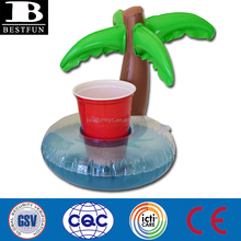 promotional premium gifts custom pvc inflatable palm tree float cup holder cool new floating drink rafts