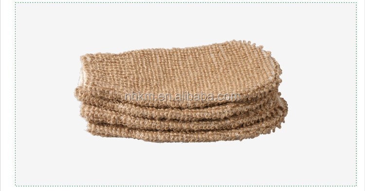 Promotional Soft Natural Hemp Shower Glove nature bath glove