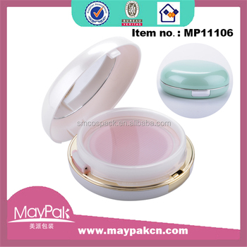 cosmetics packaging 15g plastic round white silver BB CC air cushion compact