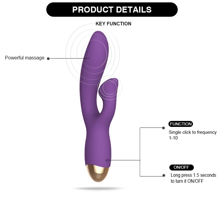 Waterproof Rechargeable Dildo Hand-Held Body Massage Dual Motors Vibrators