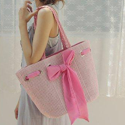 gift shop wholesale natural rattan handbag with beautiful bow S045