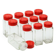 12-pack Glass Spice Jars with Shaker Top and Red Cap for Storing and Dispensing Spices