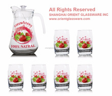 1400ml halloween christmas fruit color printing jug and 6pcs cups set drinking glass jug set