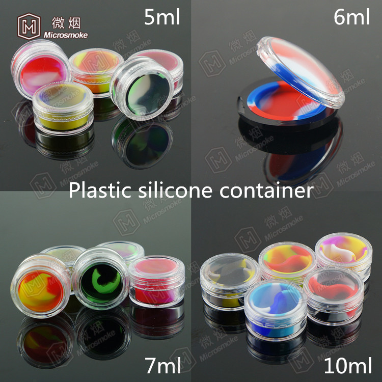Platic shell with silicone inside container for wax/oil 5ml/6ml/7ml/10ml lined container silicone customized bho oil container