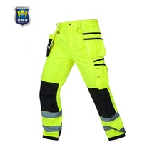 Men's safety workwear fluorescent <strong>Orange</strong> Workers trousers with Reflective Tape for Mining scotchlite cargo pants